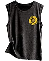 SIN+MON Women Summer Tops Sleeveless Sunflower Print Shirt Casual Vest Loose Tank Top Soft Comfortable Top (L/US 8, Black-A)