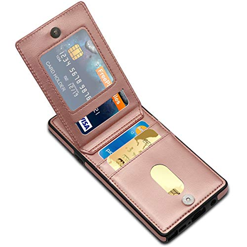 LakiBeibi Galaxy Note 9 Case, Premium Leather Anti-Scratch Galaxy Note 9 Wallet Case with Credit Card Slots Folio Flip Shockproof Protective Case for Samsung Galaxy Note 9 (2018) - Rose Gold