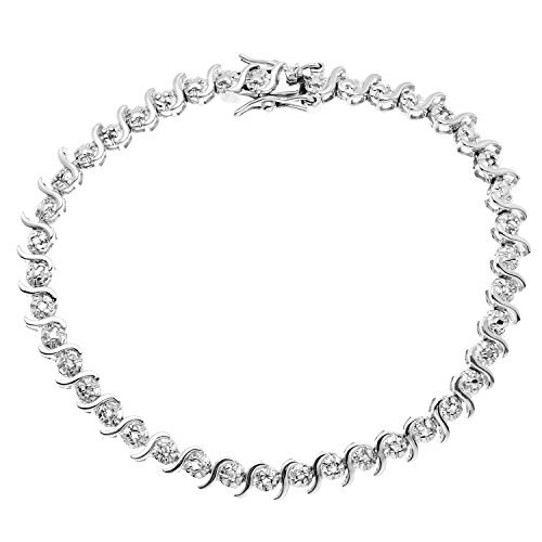 JewelExclusive Sterling Silver 1/4 cttw Natural Round-Cut Diamond (J-K Color, I2-I3 Clarity) Bracelet,7'