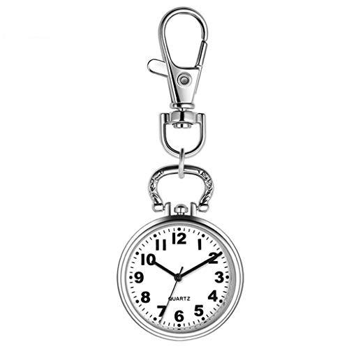 Reloj de bolsillo elegante clásico.Reloj de bolsillo de la enfermera - reloj de cola de cuarzo luminoso específico del hospital - titular de la tarjeta retráctil - examen médico mejor regalo + caja de