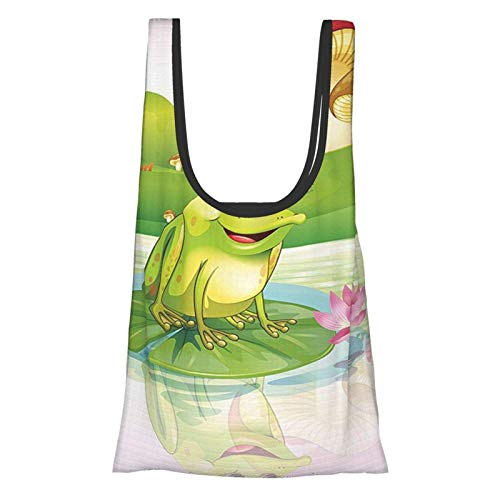 Xinkaize Animal Decor Illustration of Cute Frog On Water Lily with Mushs On The Background Nature Lake Art...