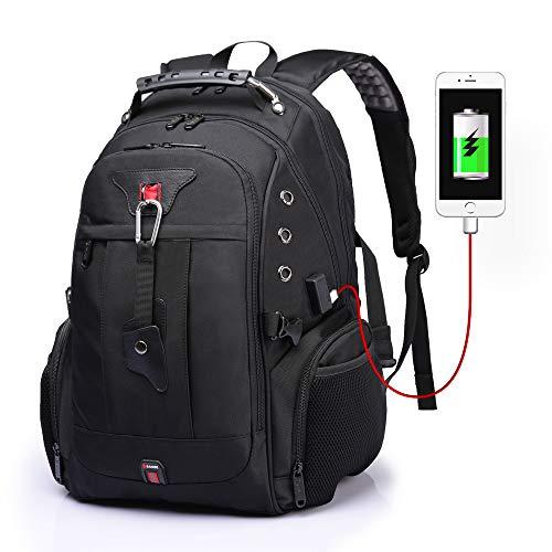 Großer Laptop-Rucksack, TSA-freundlicher Reiserucksack mit USB-Ladeanschluss, schwarz 1 (Schwarz) - BANGE