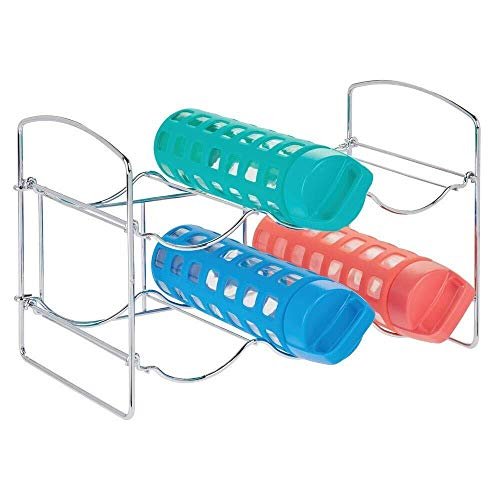 GLYYR Weinregal Metallfrei stehende Wassersportflasche und Weinregalhalter Stehen für die Lagerung, die in Küchenschrank-Countertops organisiert, Pantry - zusammenklappbar - 2 Ebenen, hält 6 Flaschen