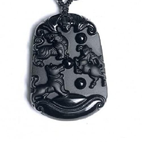 Collares con Colgantes De Piedra para Mujer,7 Chakra Yoga Amuleto Semiprecioso Natural Afortunado Rico Collar De Cuentas Tejidas A Mano, Escultura De Obsidiana Natural Negra Caballo Caballo Pe
