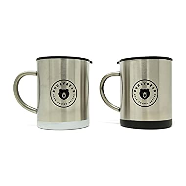 Burlybear knows Java. Double Wall Stainless Steel Coffee Mug Set. Each Insulated, 15 oz Mug Delivers Spill Resistant Lids. Unbreakable, Portable and Ready for Any Adventure.