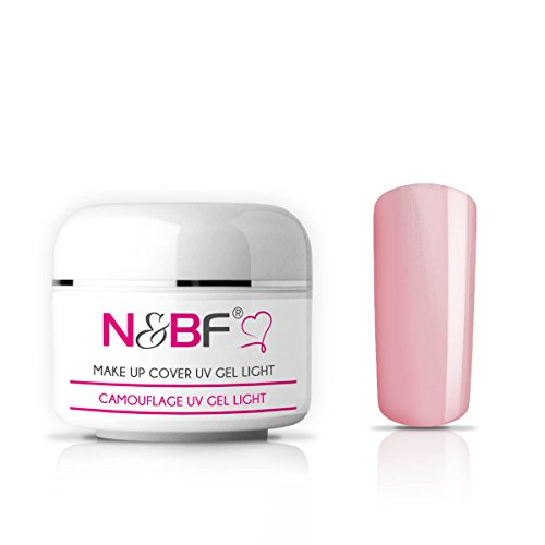 N&BF Make Up UV Gel 15 ml hellrosa | Camouflage Gel mittelviskos | Made in EU | Covergel für Babyboomer und French | Abdeck Gel rosa selbstglättend + säurefrei | Nagelgel deckend
