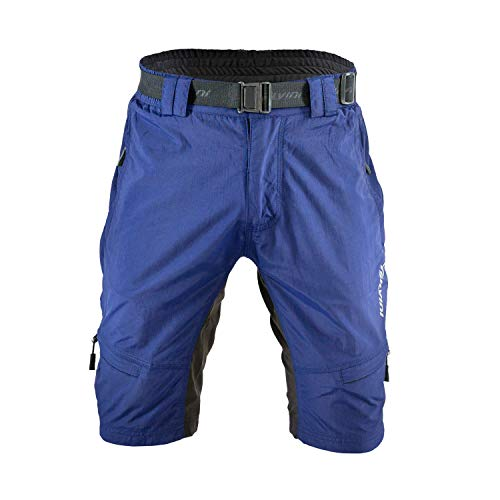 SILVINI MTB Shorts Rango with 6 Pockets for Men's Mountain Bike Cycling and All Outdoor Activities (Navy-Lime - M)