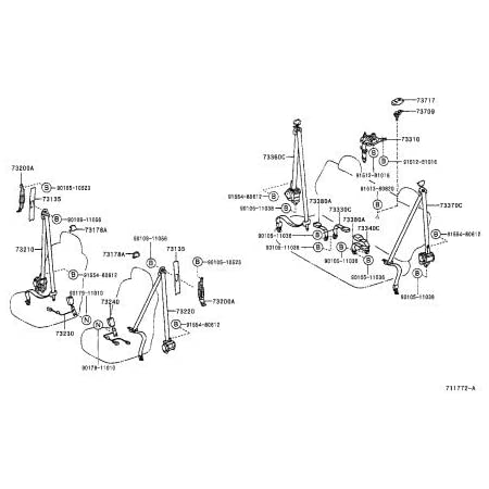 73220-60322-B0 Belt Assy Genuine Toyota Parts Fr Seat,