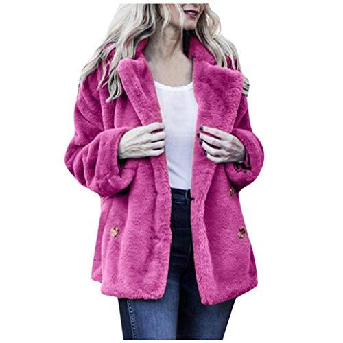 Xmiral Mantel Damen Plüsch Flaumig Einfarbig Umlegekragen Strickjacken Jacke mit Tasche Slim Fit Winterjacke Damenmantel(Rosa Rot,S)