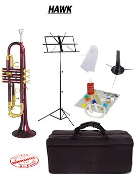 Hawk Purple Bb Trumpet School Package with Case Music Stand Trumpet Stand and Cleaning Kit WD-T314-PL-PACK