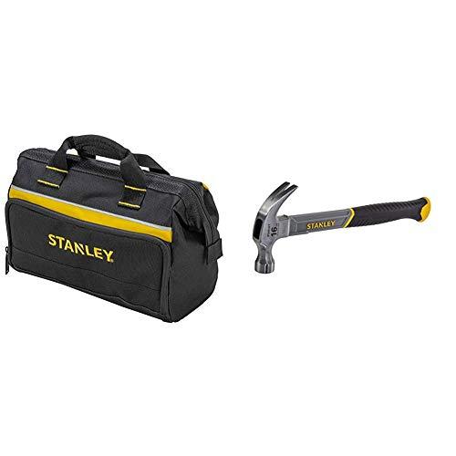 STANLEY - 1-93-330 Tool Bag, 30 x 25 x 13 cm, Assorted Models, (1 Unit) & STHT0-51309 16oz Fiberglass Curved Claw Hammer, 450g