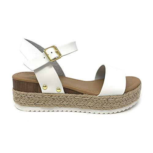 Soda Clip Topshoe Avenue Women's Open Toe Ankle Strap Espadrille Sandal (6.5 M US, White)