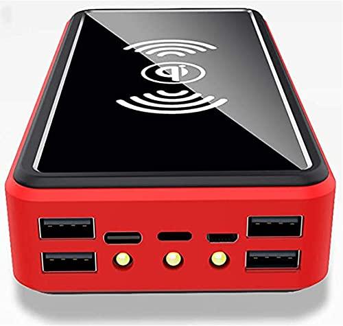 PIANAI Chargeur Portable Banque d'alimentation Solaire 100000 mah/Chargeur Solaire Banque d'alimentation/pour iPhone, Banque d'alimentation Android/USB c,Rouge