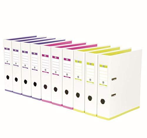 Oxford myColour Ordner A4, 8 cm breit, zweifarbig weiß sortiert, 10er Pack