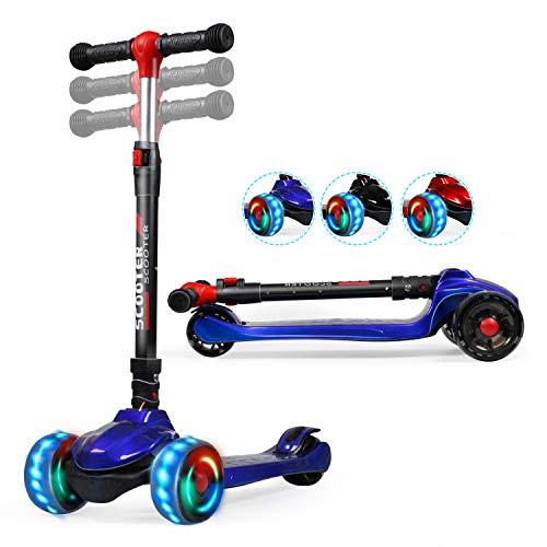 TX Roller Kinder Scooter, Kinderroller,Scooter Kinder mit 3 PU LED große Leuchtenden Räder, 3 Höhenverstellbarer und Falten Lenker Kinderscooter für ab 2-12 Jahre Jungen und Mädche