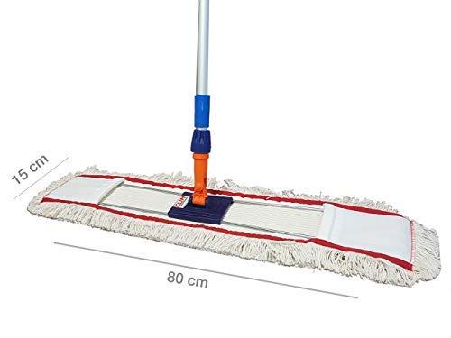 Clim Profesional® - Mopa plana industrial de algodón de 80 cms con bastidor abatible y mango de aluminio 150 cms para limpieza en seco y en húmedo