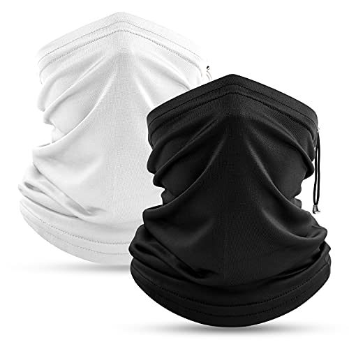 COOLOO Cooling Neck Gaiter 2 Pack Adjustable Face Covering for Women Men Breathable Sun Protection Bandanas Headwear Snoods for Outdoor Running Hiking Cycling Skiing Fishing