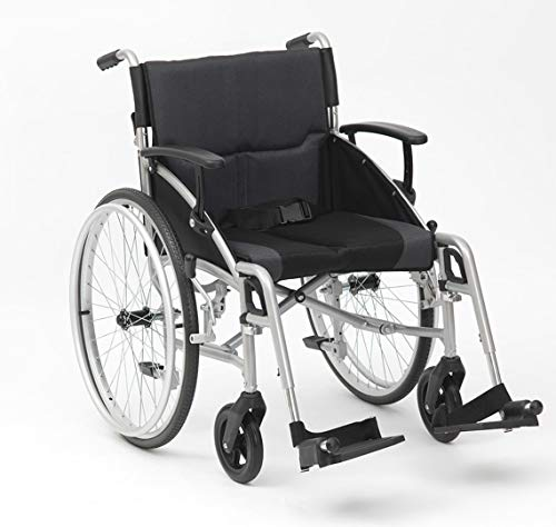 Drive DeVilbiss Phantom Wheelchair – Heavy Duty Transport Wheelchair – Adult Folding Wheelchair with Angle Adjustable Arms (Silver Self Propel)