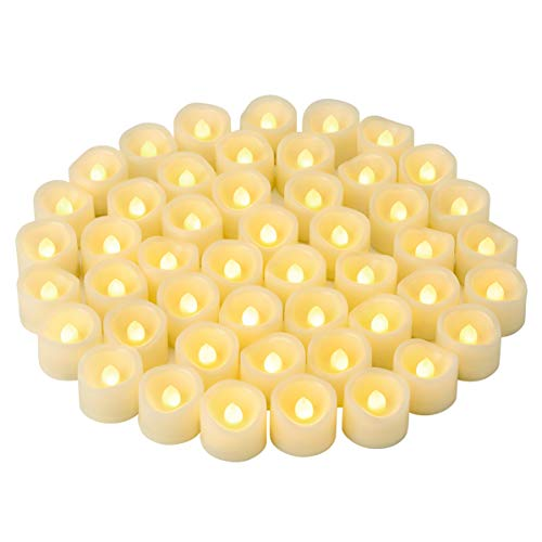 48 PCS LED Flameless Flickering Tea Lights Votive Candle Battery Operated/Electric Flicker LED Tealight Bulk Fake Candles for Halloween Christmas Wedding Party Decorations etc.(Warm White) (48 PCS)
