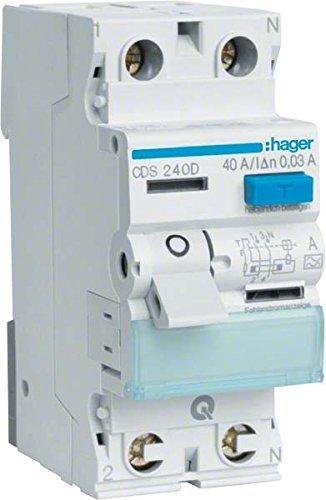 Hager 3250611610830 - Interruptor diferencial (CDS240D, 2 polos, 40 A, 30 mA, 6 kA, QC)