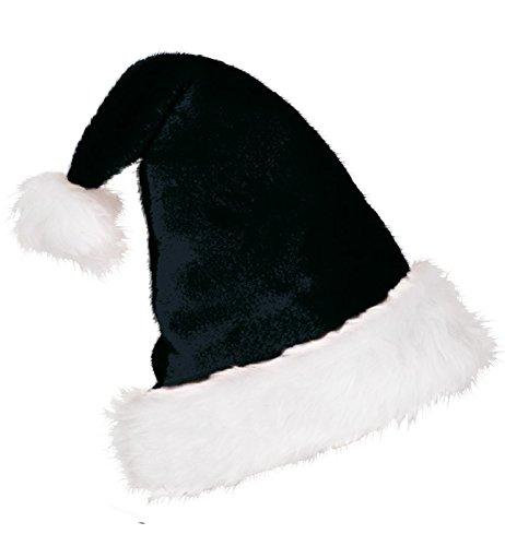Nikolausmütze edel schwarz Plüsch mit Bommel Nikolaus Mütze Weihnachtsmütze Einheitsgröße