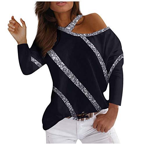FMYONF Camiseta de verano elegante con hombros descubiertos, estampado de corazones, manga corta con lentejuelas, cuello en V, patchwork, deportiva, básica, túnica
