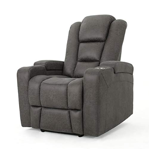 Christopher Knight Home Emersyn Tufted Microfiber Power Recliner with Arm Storage and USB Cord, Slate / Black