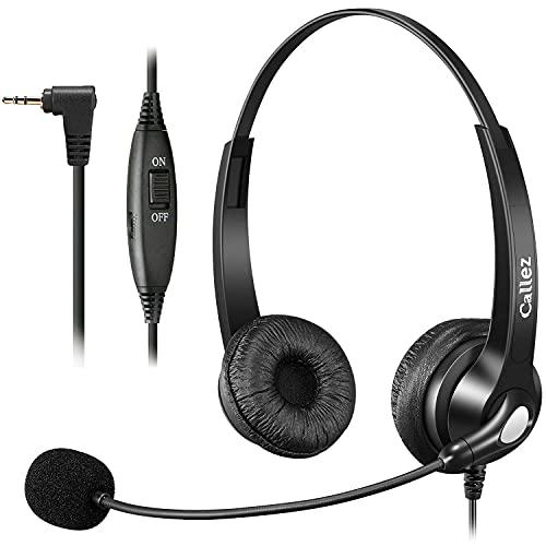 Telefon Headset 2,5mm mit Mikrofon Noise Cancelling, Schnurlos Festnetztelefone Kopfhörer DECT Kompatibel mit Panasonic Gigaset CL660 S850 C430A Grandstream Cisco SPA Polycom, Kristallklar Chat