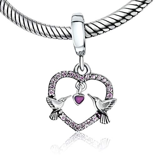 BOLENVI Love Birds Hummingbirds 925 Sterling Silver Pendant Charm Bead For Pandora & Similar Charm Bracelets or Necklaces