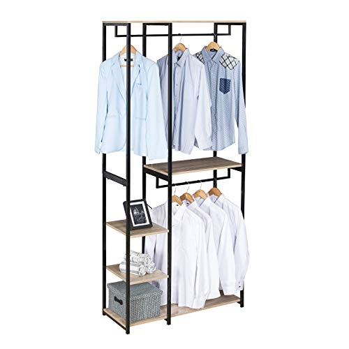 eSituro Heavy Duty Clothes Rail Stand Rack, Adjustable Garment Rack Coat Stand with Shoes Shelves,Wood, Metal, Black