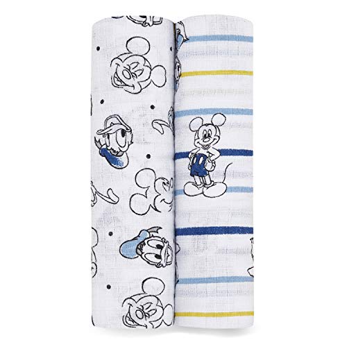 aden + anais Essentials Swaddle Blanket, Muslin Blankets for Girls & Boys, Baby Receiving Swaddles, Ideal Newborn Gifts, Unisex Infant Shower Items, Wearable Swaddling Set, 2 Pack, Mickey Star