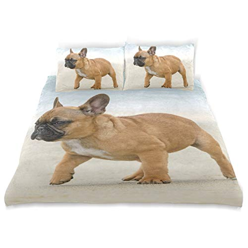 Ainans 3 Pieces Duvet Cover Twin Bedding Set Soft Frenchie Bulldog Quilt Bed Covers for Kids