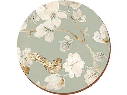Creative Tops Sottobicchieri Rotondi, Motivo Floreale con Uccelli, in Sughero, Set di 4, Colore: Azzurro Chiaro