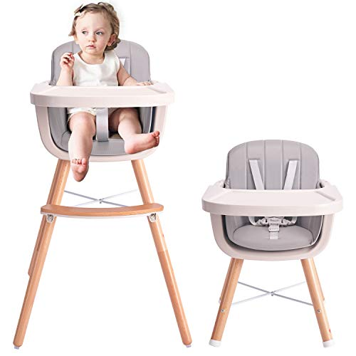 HAN-MM Baby High Chair with Removable Gray Tray, Wooden High Chair, Adjustable Legs, Harness, Feeding Baby High Chairs for Baby/Infants/Toddlers Grey