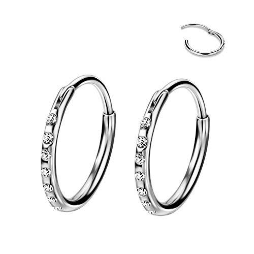 FANSING 316L Surgical Steel Ear Piercing Jewelry 10mm Hoop Earrings for Women 20 Gauge Earrings with 16g Tube
