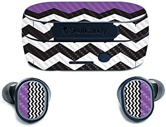 MightySkins Carbon Fiber Skin for SkullCandy Sesh True Wireless Earbuds Purple Chevron Protective product image