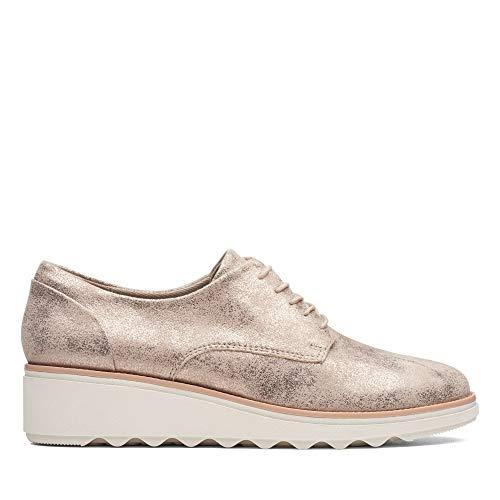 Clarks Sharon Crystal, Zapatos de Cordones Derby para Mujer, Beige (Pewter-), 42 EU