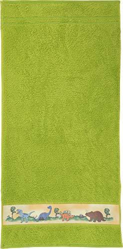 Erwin Müller Walk-Frottier Kinder-Handtuch mit Dino-Motiv grün Größe 50x100 cm - kuschelweich, atmungsaktiv, besonders schnell trocknend und saugstark