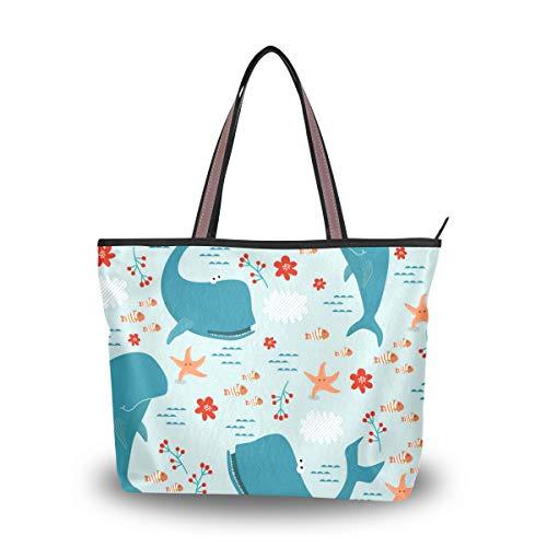 WowPrint Cartoon Ocean Animal Hark Damen Handtasche Handtasche Große Kapazität Schultertasche für Schule, Arbeit, Reisen, Einkaufen, Strand