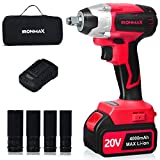 """Goplus 20V Cordless Impact Wrench Kit with 1/2"""" Chuck, Brushless Motor Max Torque 300N.m, 4.0Ah Li-ion Battery with Fast Charger, Variable Speed, 4Pcs Driver Impact Sockets, Belt Clip and Tool Bag"""