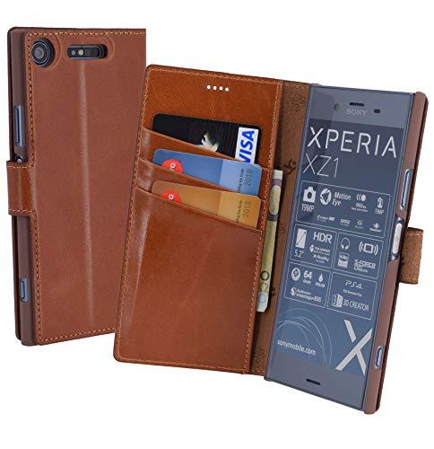 Suncase Book-Style (Slim-Fit) für Sony Xperia XZ1 Ledertasche Leder Tasche Handytasche Schutzhülle Hülle Hülle (mit Standfunktion & Kartenfach) Cognac