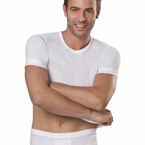 con-ta- 5er Spar-Pack Herren Unterhemden 1/4 Arm Doppelripp/T-Shirts - 100% supergekämmte Baumwolle - Weiß – Kochfest und Trockner geeignet (6/L, Weiß)