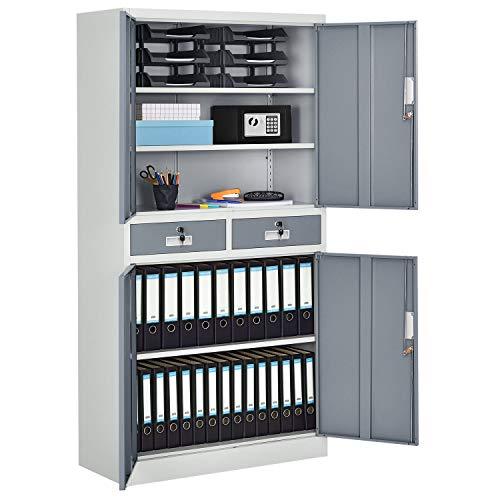 Juskys Metall Aktenschrank Office mit 4 Türen & 2 Schubladen | 180 x 90 cm | abschließbar | 2 Schlüssel | weiß – grau | Büroschrank Lagerschrank