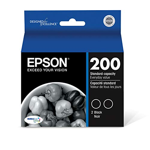 EPSON T200 DURABrite Ultra Ink Standard Capacity Black Dual Cartridge Pack (T200120-D2) for select Epson Expression and WorkForce Printers