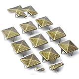 50pcs 18 millimetri piramide borchie Rivetti Spike Chiodi Punk Rock Leathercraft fai da te Bracciali Abbigliamento Borsa Scarpe Cintura Accessori Abbigliamento, Ottone Antico