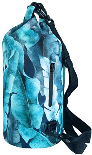 SNAILMAN Waterproof Dry Bag for Women Men, 10L Roll Top Lightweight Dry Storage Bag Backpack with Phone Zipper Pocket, Swimming, Boating, Kayaking, Camping and Beach (Banana leaf, 10L)