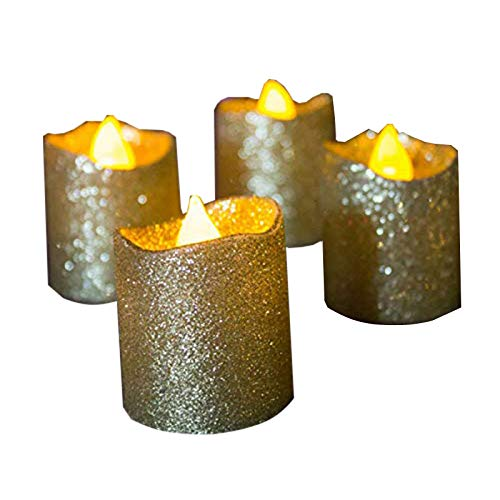 Gold Flameless Votive Candles,Battery Operated Gold Glitter LED Tea Light Candles for Party,Table,Wedding Centerpieces,Christmas, Anniversary Decorations(Pack of 12)