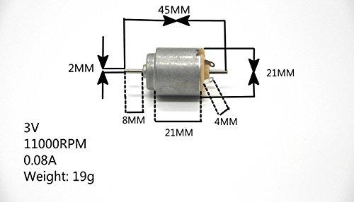 J-Cloud 5-PACK 3V 140 DC 11000 RPM Toy Motors (DIY Small RC Car Motor)