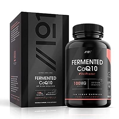 Fermented CoQ10 with BioPerine® - 100mg - USP Grade Ubiquinone - Naturally Fermented Co Enzyme Q10, 120 Vegan Capsules - No Additives — Non-GMO.