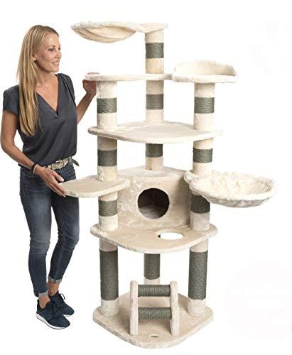 JAMAXX Premium XXL Kratzbaum für große Katzen H175cm extra-Dicke 11 cm Stämme stabil, extra-weiches Soft-Plüsch, PCT6003 beige